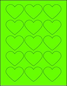 """Sheet of 2.2754"""" x 1.8872"""" Fluorescent Green labels"""
