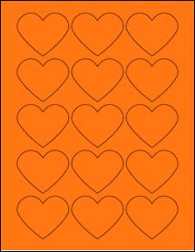 "Sheet of 2.2754"" x 1.8872"" Fluorescent Orange labels"