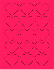 "Sheet of 2.2754"" x 1.8872"" Fluorescent Pink labels"