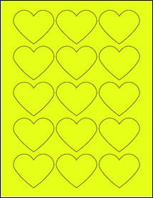 "Sheet of 2.2754"" x 1.8872"" Fluorescent Yellow labels"