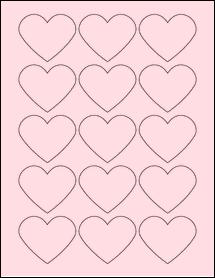 "Sheet of 2.2754"" x 1.8872"" Pastel Pink labels"