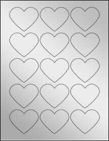 """Sheet of 2.2754"""" x 1.8872"""" Silver Foil Laser labels"""