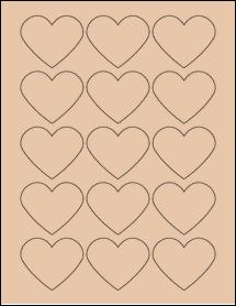 "Sheet of 2.2754"" x 1.8872"" Light Tan labels"