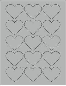 "Sheet of 2.2754"" x 1.8872"" True Gray labels"