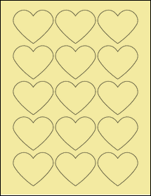 "Sheet of 2.2754"" x 1.8872"" Pastel Yellow labels"