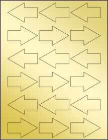 """Sheet of 2.37"""" x 1.53"""" Gold Foil Inkjet labels"""