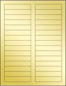 "Sheet of 3.4375"" x 0.669"" Gold Foil Laser labels"