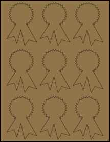 """Sheet of 2.3414"""" x 3.4028"""" Brown Kraft labels"""