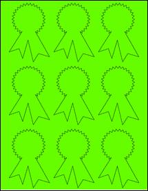 """Sheet of 2.3414"""" x 3.4028"""" Fluorescent Green labels"""