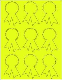 "Sheet of 2.3414"" x 3.4028"" Fluorescent Yellow labels"