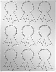 """Sheet of 2.3414"""" x 3.4028"""" Silver Foil Inkjet labels"""