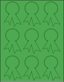 "Sheet of 2.3414"" x 3.4028"" True Green labels"