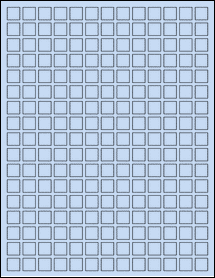 "Sheet of 0.5"" x 0.5"" Pastel Blue labels"