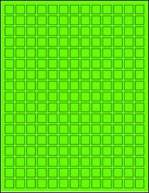 """Sheet of 0.5"""" x 0.5"""" Fluorescent Green labels"""