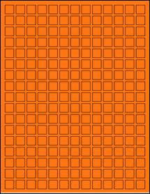 "Sheet of 0.5"" x 0.5"" Fluorescent Orange labels"