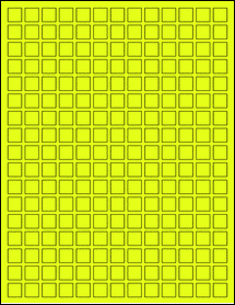 "Sheet of 0.5"" x 0.5"" Fluorescent Yellow labels"