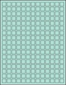 "Sheet of 0.5"" x 0.5"" Pastel Green labels"