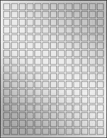 """Sheet of 0.5"""" x 0.5"""" Silver Foil Laser labels"""