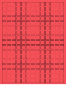 """Sheet of 0.5"""" x 0.5"""" True Red labels"""