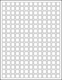 "Sheet of 0.5"" x 0.5"" Aggressive White Matte labels"