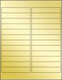 "Sheet of 4"" x .75"" Gold Foil Inkjet labels"