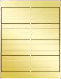 """Sheet of 4"""" x 0.75"""" Gold Foil Inkjet labels"""