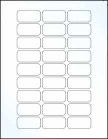 "Sheet of 1.875"" x 0.9375"" Clear Gloss Inkjet labels"