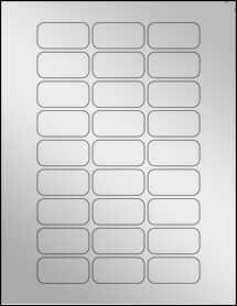 """Sheet of 1.875"""" x 0.9375"""" Silver Foil Laser labels"""
