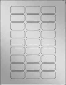 "Sheet of 1.875"" x .9375"" Weatherproof Silver Polyester Laser labels"