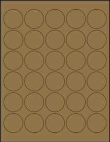 "Sheet of 1.5"" Circle Brown Kraft labels"