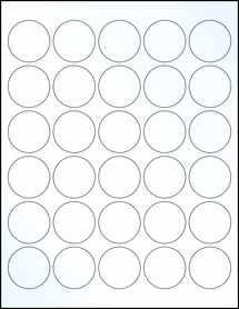 "Sheet of 1.5"" Circle Clear Gloss Inkjet labels"