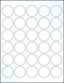 "Sheet of 1.5"" Circle Clear Gloss Laser labels"
