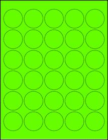 "Sheet of 1.5"" Circle Fluorescent Green labels"