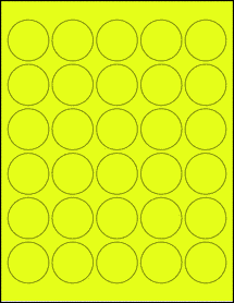 "Sheet of 1.5"" Circle Fluorescent Yellow labels"