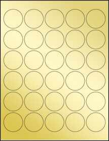 "Sheet of 1.5"" Circle Gold Foil Inkjet labels"