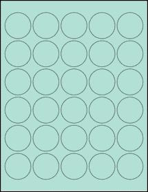 "Sheet of 1.5"" Circle Pastel Green labels"