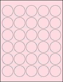 """Sheet of 1.5"""" Circle Pastel Pink labels"""