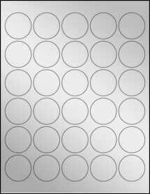"Sheet of 1.5"" Circle Silver Foil Inkjet labels"