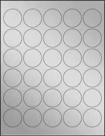 "Sheet of 1.5"" Circle Weatherproof Silver Polyester Laser labels"