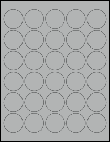 "Sheet of 1.5"" Circle True Gray labels"