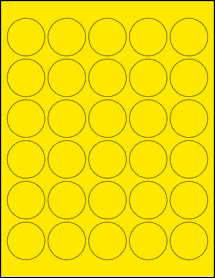"Sheet of 1.5"" Circle True Yellow labels"
