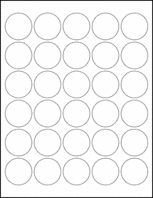 "Sheet of 1.5"" Circle Weatherproof Gloss Inkjet labels"