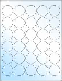 "Sheet of 1.5"" Circle White Gloss Laser labels"