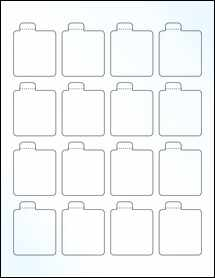 """Sheet of 1.6875"""" x 2.125"""" Clear Gloss Laser labels"""