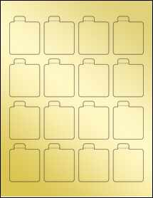 "Sheet of 1.6875"" x 2.125"" Gold Foil Laser labels"