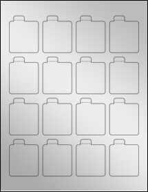 """Sheet of 1.6875"""" x 2.125"""" Silver Foil Inkjet labels"""