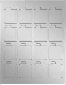 "Sheet of 1.6875"" x 2.125"" Weatherproof Silver Polyester Laser labels"