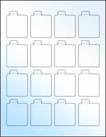 "Sheet of 1.6875"" x 2.125"" White Gloss Inkjet labels"