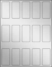 """Sheet of 1.3125"""" x 2.75"""" Silver Foil Laser labels"""