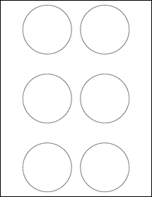 "Sheet of 2.75"" Circle Removable White Matte labels"